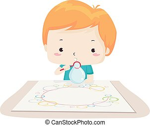 Kid Boy Bubble Painting Illustration