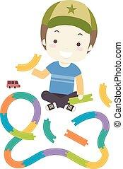 Kid Boy Build Toy Car Track Illustration