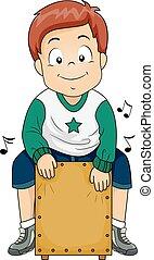 Kid Boy Cajon Drum Playing