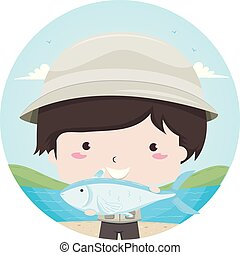 Kid Boy Caught Fish Illustration