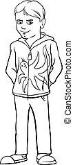 kid boy character cartoon coloring page