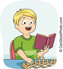 Kid Boy Chess Learn Book Illustration