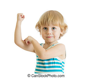 Kid boy child strength training and showing muscles.