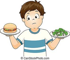 Kid Boy Choose Broccoli Burger Illustration