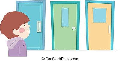 Kid Boy Choose Door Illustration - Illustration of a Kid Boy...