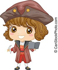 Illustration of a Kid Boy Wearing a Christopher Columbus Costume Holding a Book and Quill