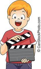 Kid Boy Clapper Illustration