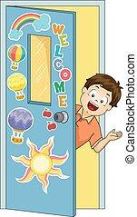 Kid Boy Classroom Welcome Illustration