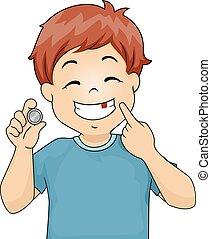 Kid Boy Coin Tooth Fairy Illustration