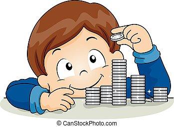 Kid Boy Coins Illustration