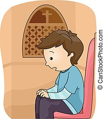 Kid Boy Confession Booth - Illustration of a Boy Inside a...