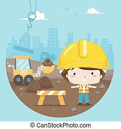 Kid Boy Construction Site Illustration