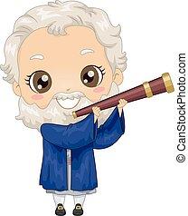 Kid Boy Costume Little Galileo Illustration - Illustration...