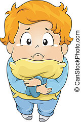 Kid Boy Crying in Pillow