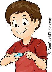 Kid Boy Cut Nail Illustration