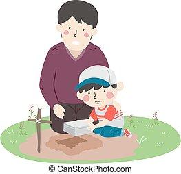 Kid Boy Dad Memorialize Pet Illustration - Illustration of a...
