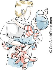 Kid Boy Dad Piggy Back Ride Illustration
