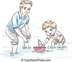 Kid Boy Dad Playing Boat Illustration
