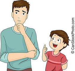 Kid Boy Dad Son Ask Question