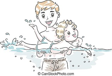 Kid Boy Dad Teach Swim Illustration