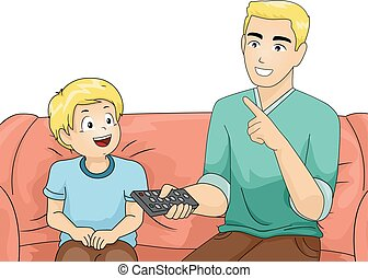 Kid Boy Dad Teach TV Remote