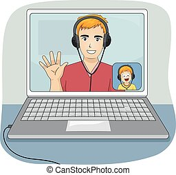 Kid Boy Dad Web Talk Laptop