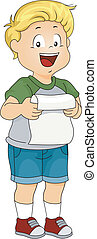 Kid Boy Delivering his Speech - Illustration of a Kid Boy...