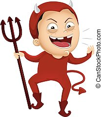Kid Boy Devil Costume Illustration