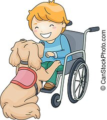 Kid Boy Dog Assistance - Illustration of a Disabled Boy...