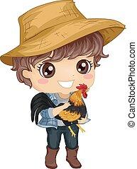 Kid Boy Domesticated Fowl