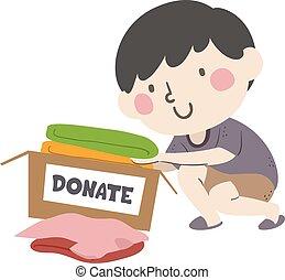 Kid Boy Donate Clothes Illustration