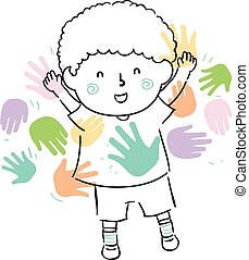 Kid Boy Doodle Meet Peers Friends Illustration