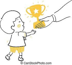 Kid Boy Doodle Receive Trophy Illustration
