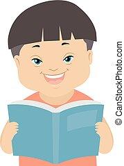 Kid Boy Down Syndrome Read Book Illustration