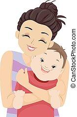 Kid Boy Down Syndrome Sister Hug Illustration