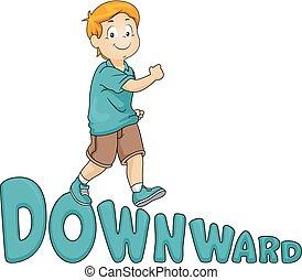 Kid Boy Downward Illustration