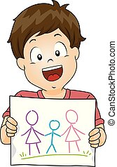 Kid Boy Draw Lesbian Family Illustration
