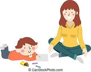 Kid Boy Draw Mom Model Illustration
