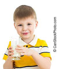 kid boy drinking milk isolated on white