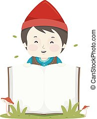 Kid Boy Dwarf Book Illustration