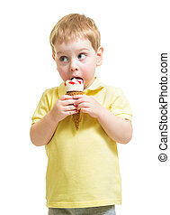 kid boy eating ice cream isolated on white
