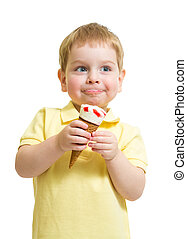 Kid boy eating ice cream with pleasure isolated on white