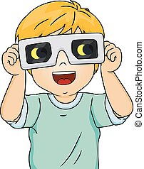 Kid Boy Eclipse Glasses - Illustration of an Excited Little...