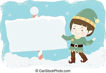 Kid Boy Elf Board Pole Illustration