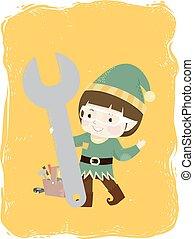 Kid Boy Elf Mechanic Wrench Tool Box Illustration