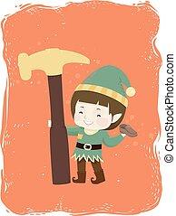 Kid Boy Elf Shoe Hammer Illustration