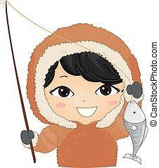 Kid Boy Eskimo Fishing Illustration