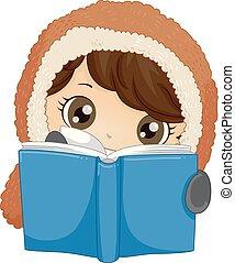 Kid Boy Eskimo Read Book Illustration