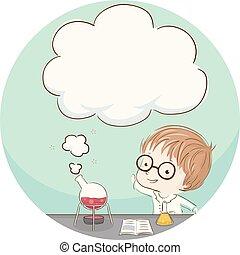 Kid Boy Experiment Clouds Illustration
