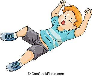 Kid Boy Fall Illustration